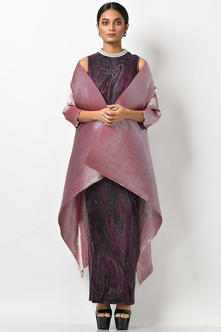 Frosted Pink Wrap With Sleeves by Kiran Uttam Ghosh