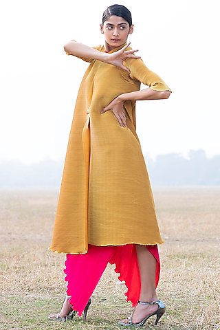 Mustard Pleated Angarkha Jacket by Kiran Uttam Ghosh