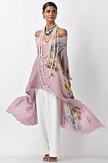 Lavender Pink Printed Wrap by Kiran Uttam Ghosh-POPULAR PRODUCTS AT STORE