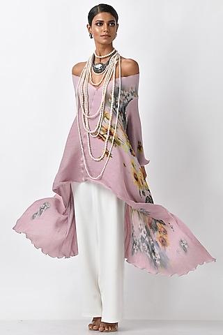 Lavender Pink Printed Wrap by Kiran Uttam Ghosh