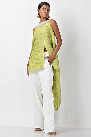 Lime Green Embroidered Handcrafted Wrap by Kiran Uttam Ghosh