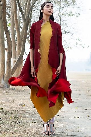 Brick Red Pleated Angarakha Jacket by Kiran Uttam Ghosh