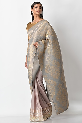 Silver Hand Embroidered Saree by Kiran Uttam Ghosh