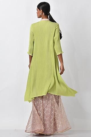 Lime Embroidered Kaftan by Kiran Uttam Ghosh