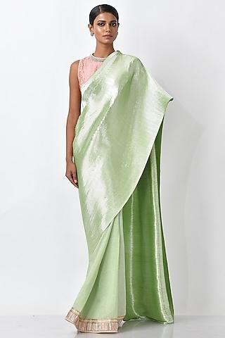 Apple Green Metallic Saree Set by Kiran Uttam Ghosh