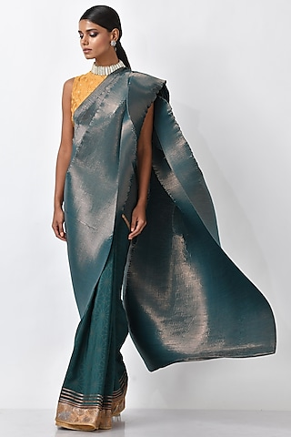 Emerald Green Metallic Saree Set by Kiran Uttam Ghosh