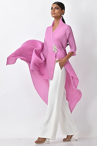 Bright Lavender Pink Embroidered Top by Kiran Uttam Ghosh