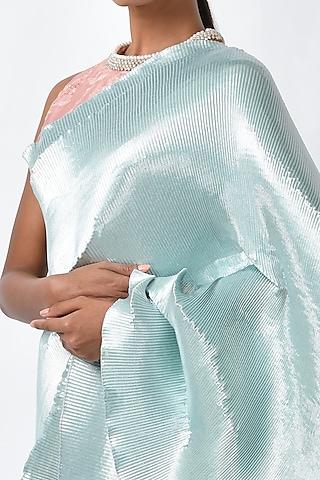 Soft Aquamarine Metallic Saree Set by Kiran Uttam Ghosh