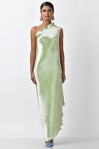 Apple Green Metallic Dress by Kiran Uttam Ghosh