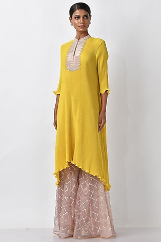 Yellow Embroidered Kaftan by Kiran Uttam Ghosh