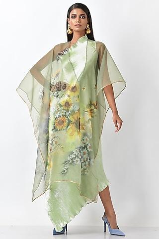 Apple Green Printed Drape by Kiran Uttam Ghosh