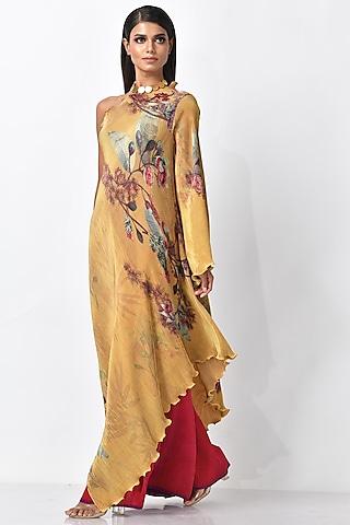 Mustard Gold One Shoulder Dress by Kiran Uttam Ghosh
