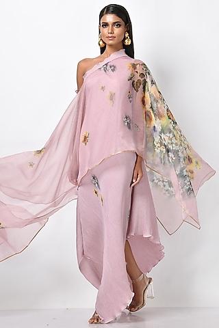 Soft Lavender Pink Printed Drape by Kiran Uttam Ghosh