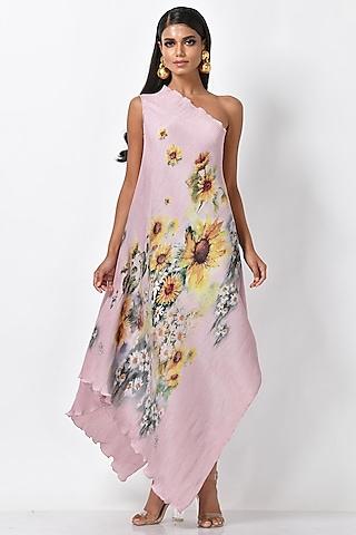 Lavender Pink Printed One Shoulder Dress by Kiran Uttam Ghosh