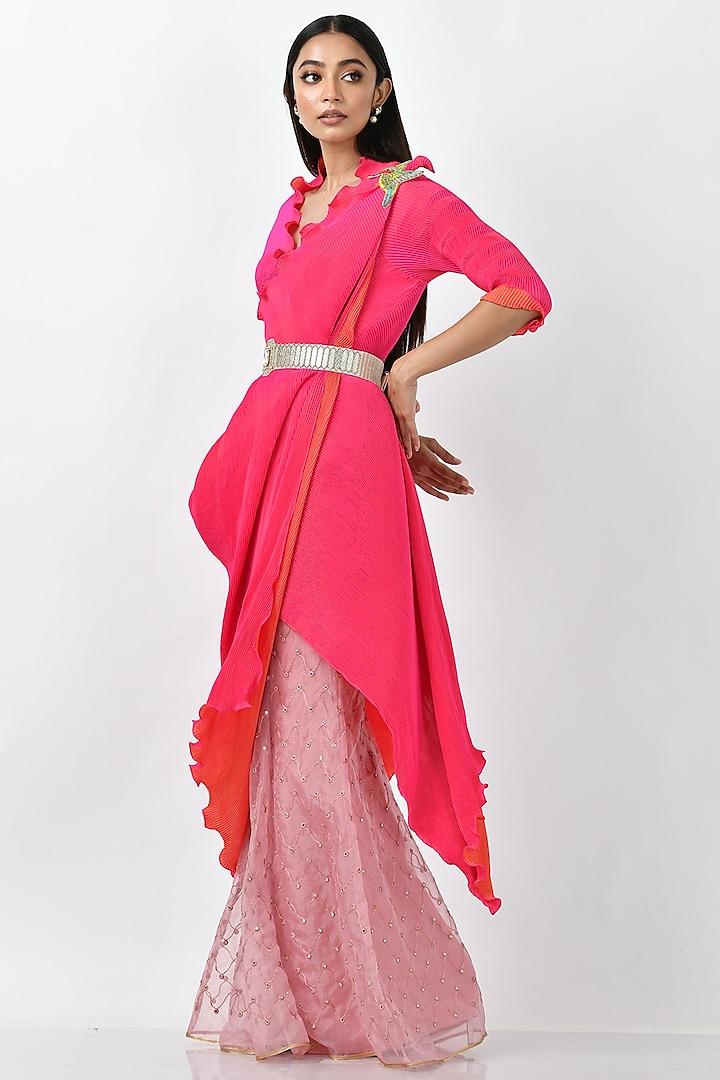 Pink Embroidered Sharara Pants by Kiran Uttam Ghosh