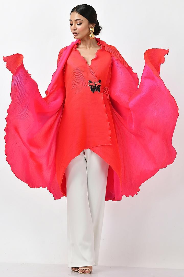 Fuchsia Pleated Polyester Angrakha Kurta by Kiran Uttam Ghosh