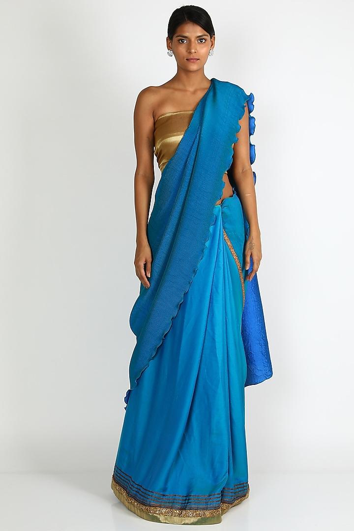Sky Blue Pleated Saree Set by Kiran Uttam Ghosh