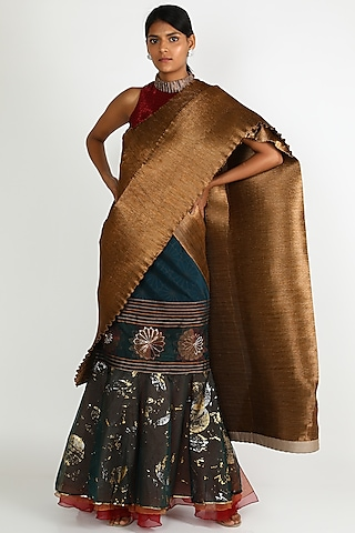 Emerald Green & Copper Embroidered Skirt Saree Set by Kiran Uttam Ghosh