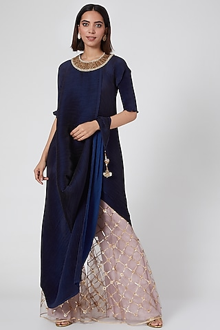 Navy Blue Embroidered Pleated Cape by Kiran Uttam Ghosh