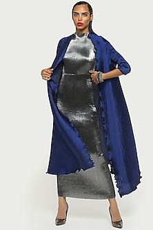 Navy Blue Draped & Pleated Cape by Kiran Uttam Ghosh