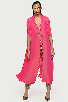 Fuchsia Draped Cape With Tassels by Kiran Uttam Ghosh