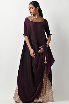 Blackberry Tunic With Tassel Detailing by Kiran Uttam Ghosh