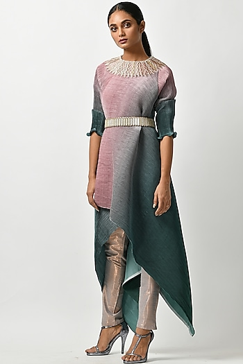 Salmon Pink & Teal Embroidered Tunic by Kiran Uttam Ghosh