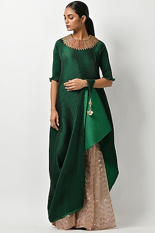 Emerald Green Tunic With Tassel Detailing by Kiran Uttam Ghosh