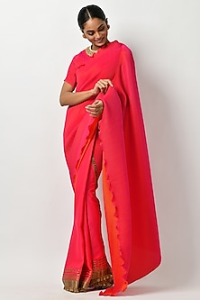 Fuchsia Embroidered Saree Set by Kiran Uttam Ghosh