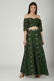 Green Embroidered Lehenga Set by Kudi Pataka Designs
