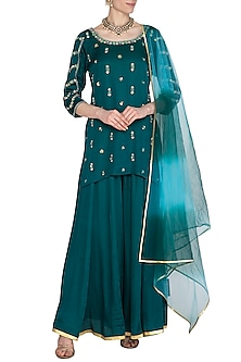 Teal Green Hand Embroidered Sharara Set by Kudi Pataka Designs