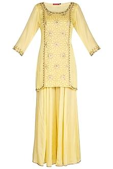Lemon Yellow Hand Embroidered Sharara Set by Kudi Pataka Designs