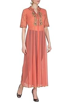 Peach Hand Embroidered Kalidar Tunic by Kudi Pataka Designs