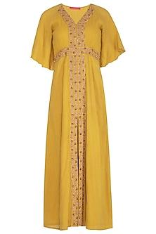 Mustard Yellow Hand Embroidered Maxi Dress by Kudi Pataka Designs