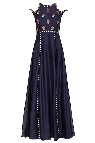 Midnight Blue Hand Embroidered Gown by Kudi Pataka Designs