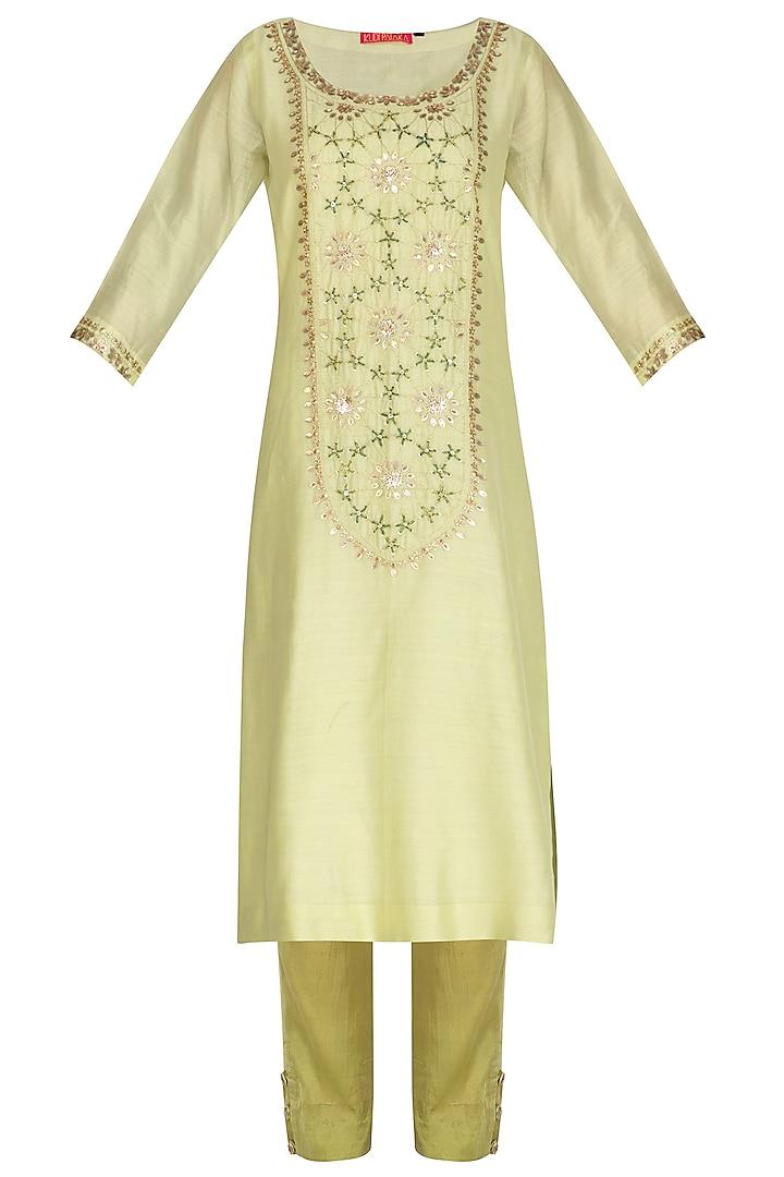 Yellow Green Hand Embroidered Kurta Set by Kudi Pataka Designs
