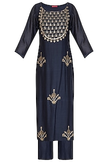 Navy Blue Hand Embroidered Kurta Set by Kudi Pataka Designs