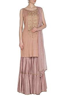 Soft Pink Hand Embroidered Tiered Sharara Set by Kudi Pataka Designs