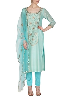 Aqua Blue Embroidered Kurta Set by Kudi Pataka Designs