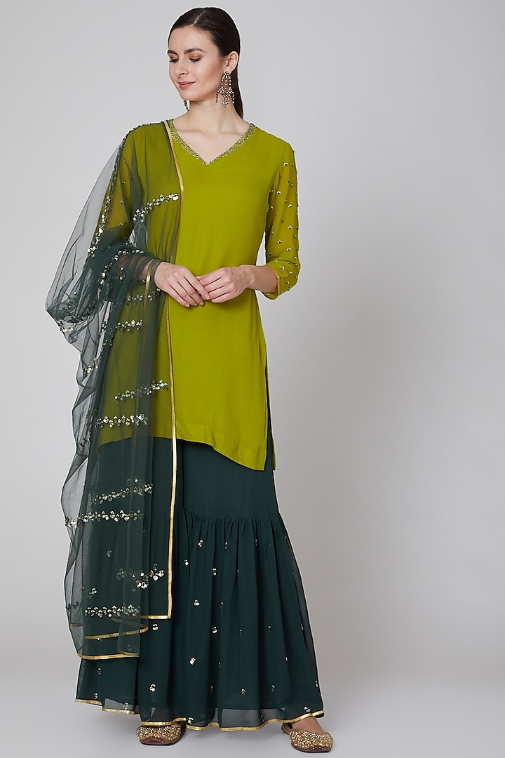 Olive & Emerald Green Embroidered Sharara Set by Kudi Pataka Designs