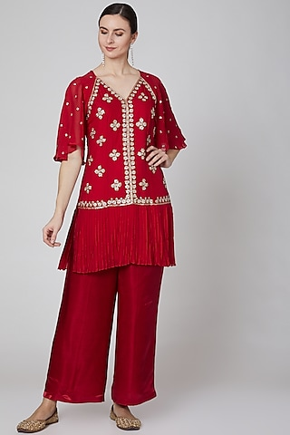 Red Embroidered Tunic Set by Kudi Pataka Designs