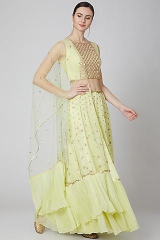 Yellow Embroidered Lehenga Set by Kudi Pataka Designs