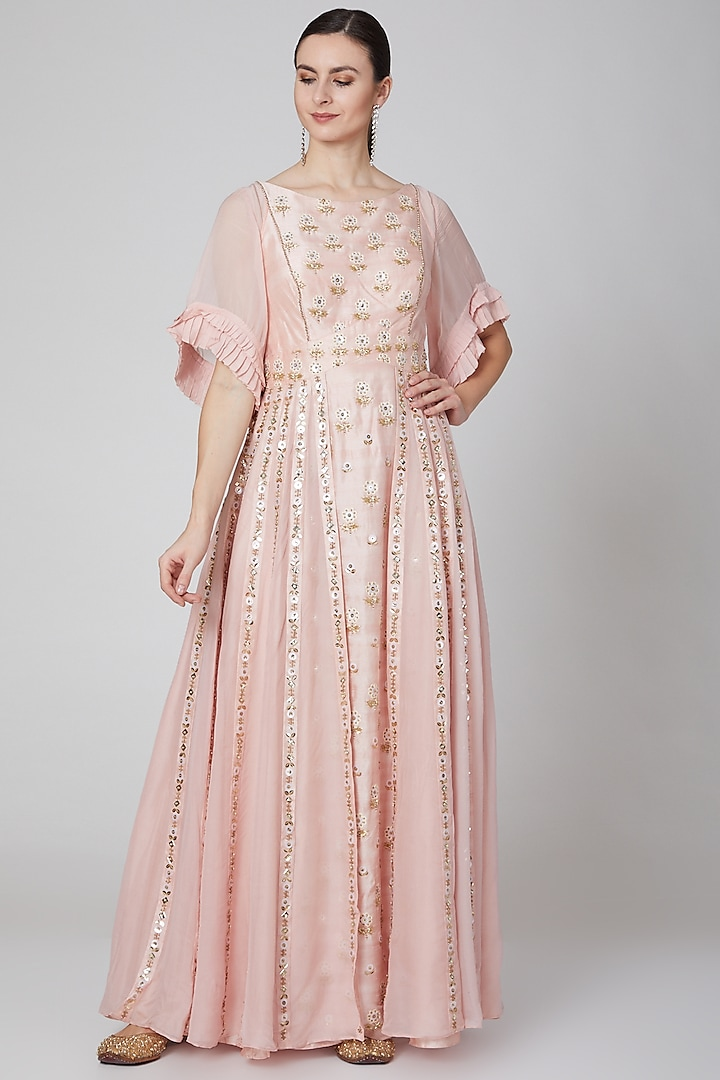 Blush Pink Embroidered Gown by Kudi Pataka Designs