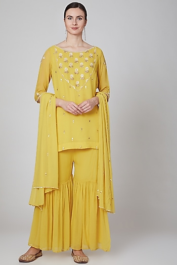 Yellow Embroidered Sharara Set by Kudi Pataka Designs