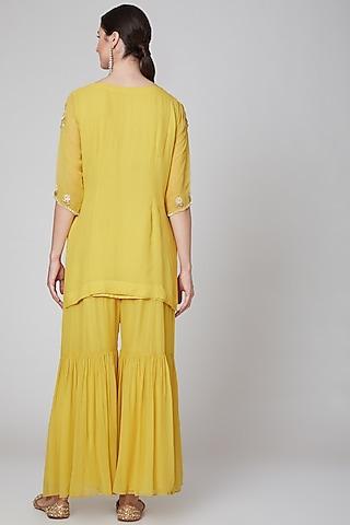 Yellow Embroidered Sharara Set by Kudi Pataka Designs