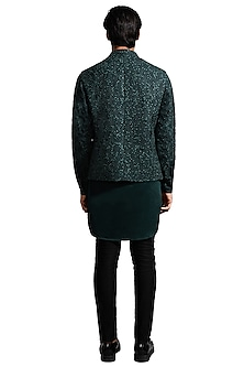 Teal Blue Deconstructed Jacket With Kurta by Kunal Rawal