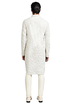 Ice Blue Deconstructed Jacket With Kurta by Kunal Rawal