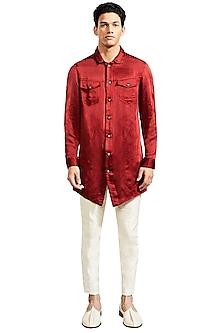Rust Denim Style Kurta by Kunal Rawal