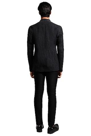 Black Washed Out Bandhgala Jacket by Kunal Rawal