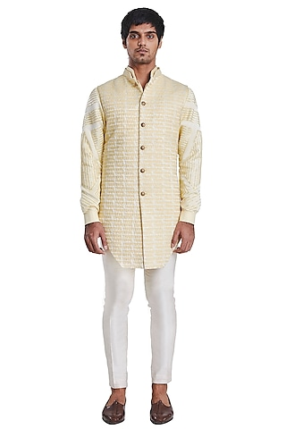 Yellow Jacket With Threadwork Pattern by Kunal Rawal